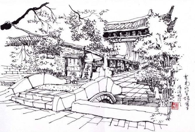 古镇房子画画简单