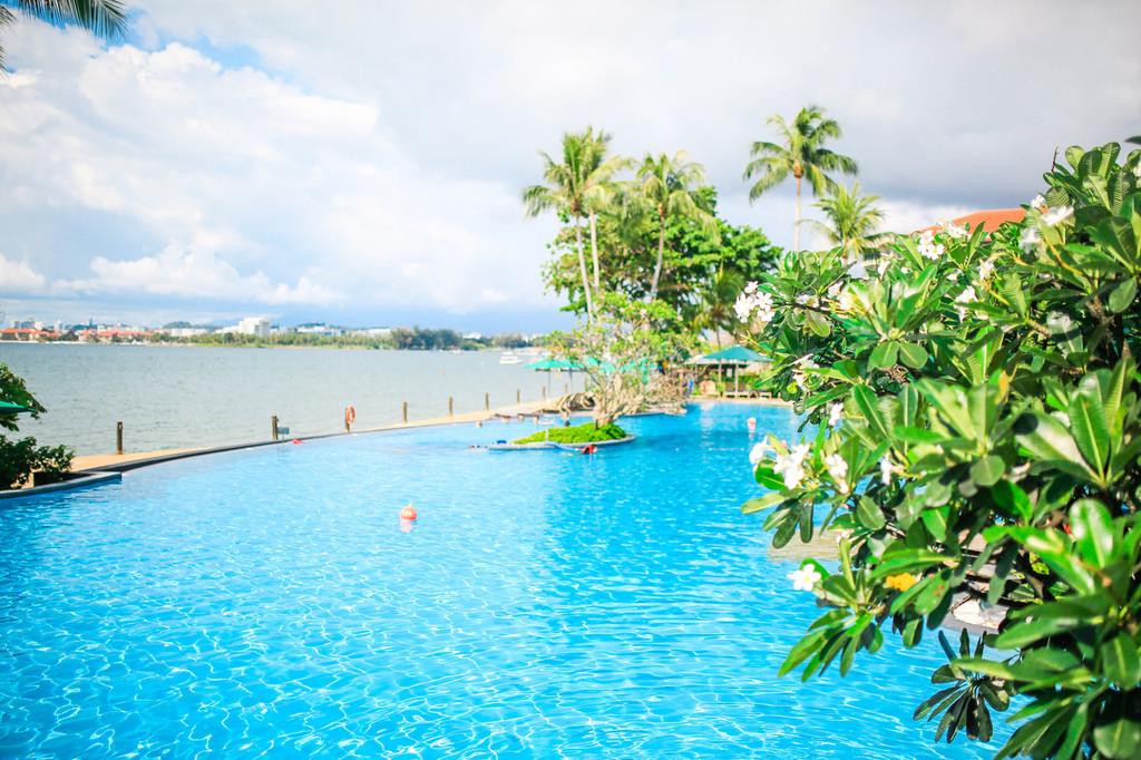 泳池边的拱桥 spa馆里独具 东南亚 特色的小木屋等 以及海边的椰树和