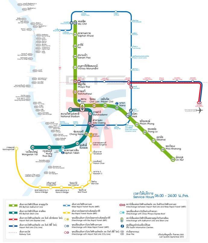 这张就是曼谷市区bts线路图了,没有上海的地铁那么错综复杂