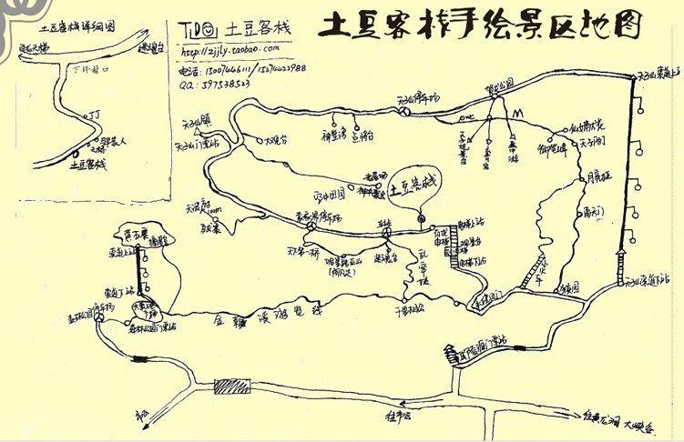 最后上土豆家的景区手绘地图