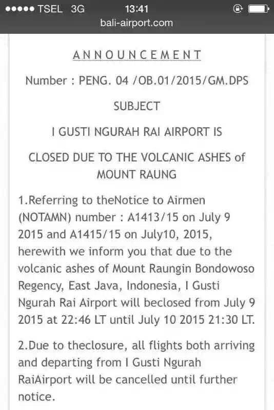 由于火山爆发巴厘岛登巴萨机场关闭的通知