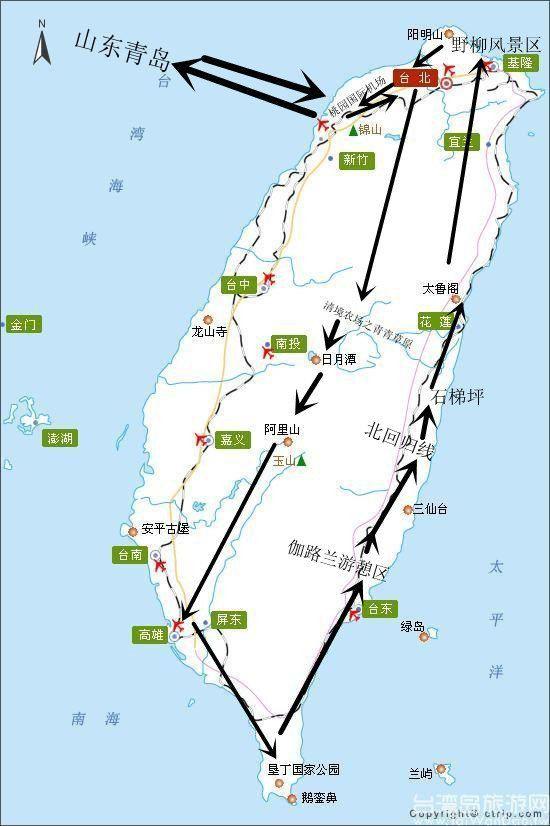 台湾环岛游路线图