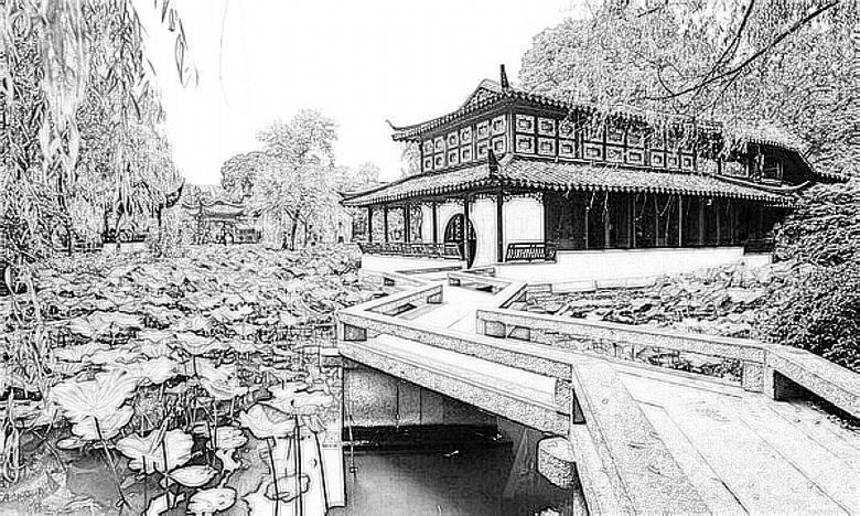 拙政园         这是苏州园林的典型,宅园合一.