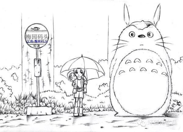 龙猫手绘画图片