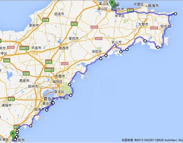 骑行路线图: 途径:日照-青岛-海阳-乳山-荣成-成山头风景区-威海-烟台