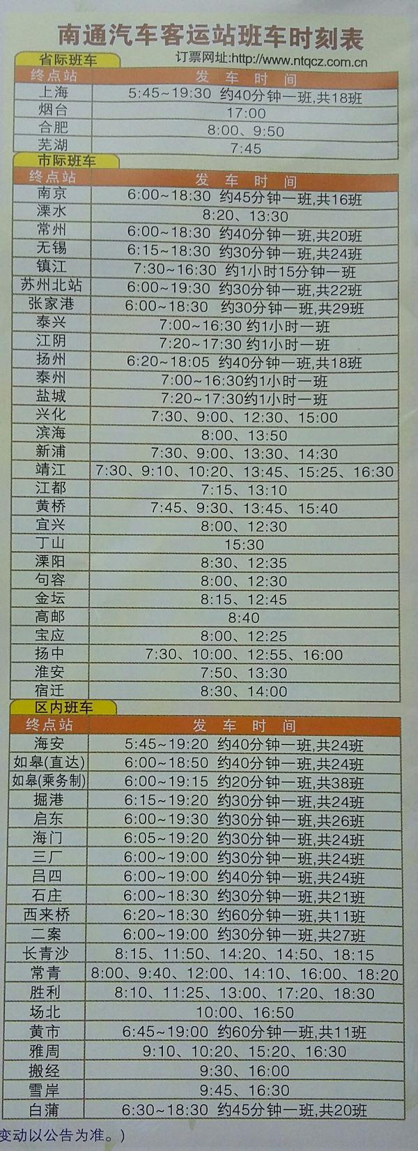 上海到南通东站大巴时刻表